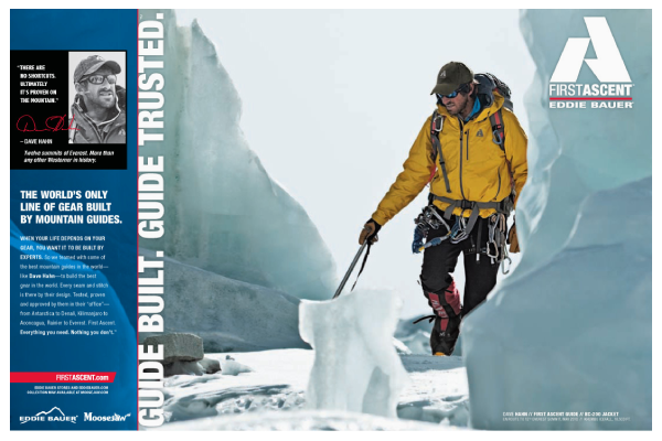 First Ascent Ad featuring Dave Hahn